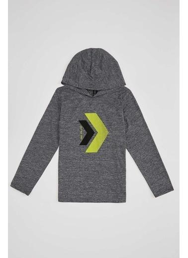 Defacto –Fit Erkek Çocuk Şal Yaka Spor Sweatshirt Antrasit